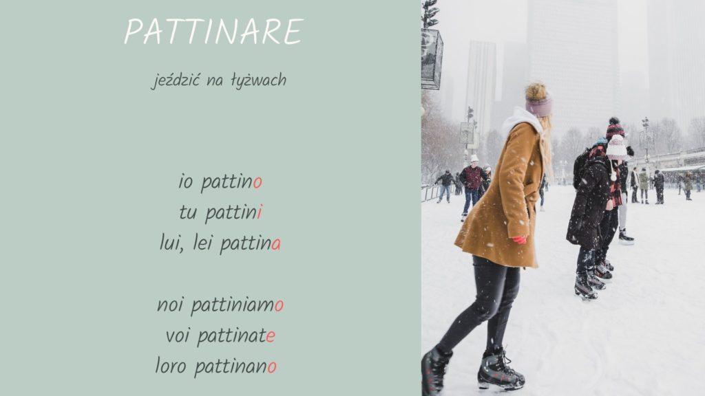 odmiana czasownika pattinare